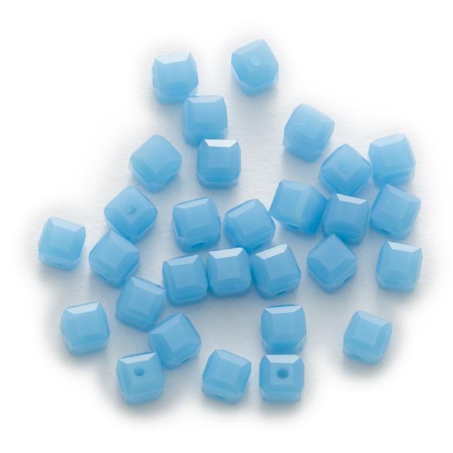 50 Piece Lake Blue Color Cut Faceted Crystal Gl Square Beads Jewelry Making For Handmade Bracelet Necklaces Diy 4 8mm