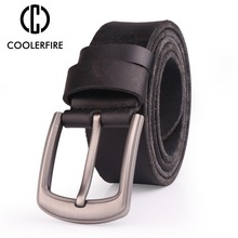 Men Top Full Grain 100% Cowhide Genuine Leather Belt With High Quality Zinc Alloy Buckle Bekts For TN001