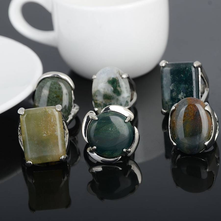Wholesale 5Pcs Multicolors Nature Stone Silver Rings for Men Women Silver Plated Geometric Big Stone Wedding Finger Ring Lot in Rings from Jewelry Accessories