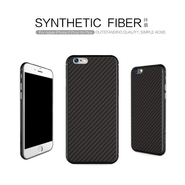Carbon case voor iphone 6 6 s behuizing Nillkin Synthetische vezels cover case siliconen PP back shell voor coque iphone 6 plus