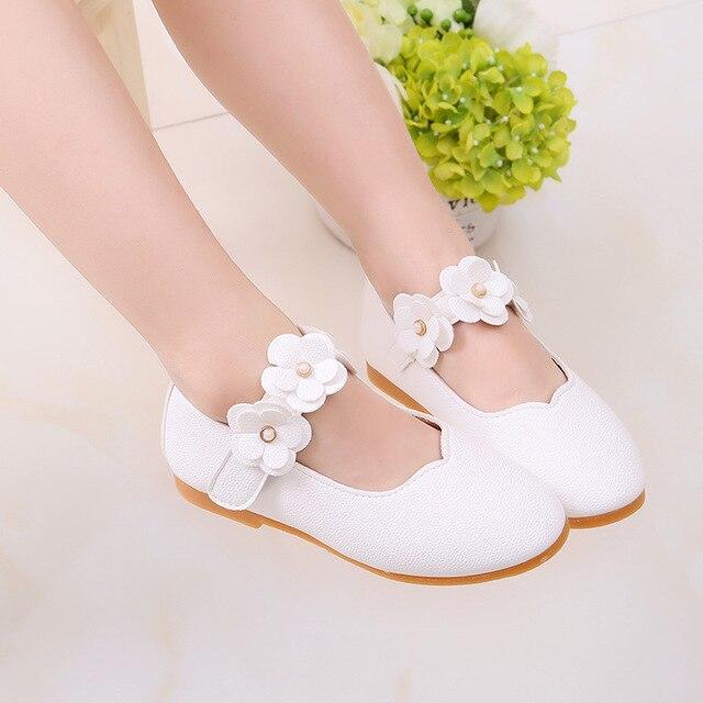 Children shoes PU Leather Flower Princess toddler Girls Shoes Kids Soft  Single flats Dance Shoes school kids cute sandals