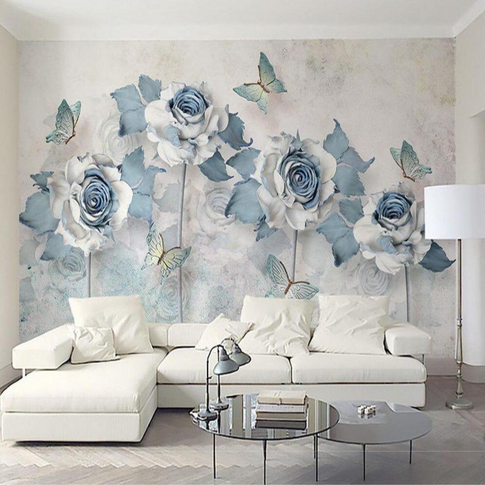 blue flower mural wallpaper 3d papel para pared murales para pared nonwoven-wallpaper for sofa tv backsplash fabric wall papers