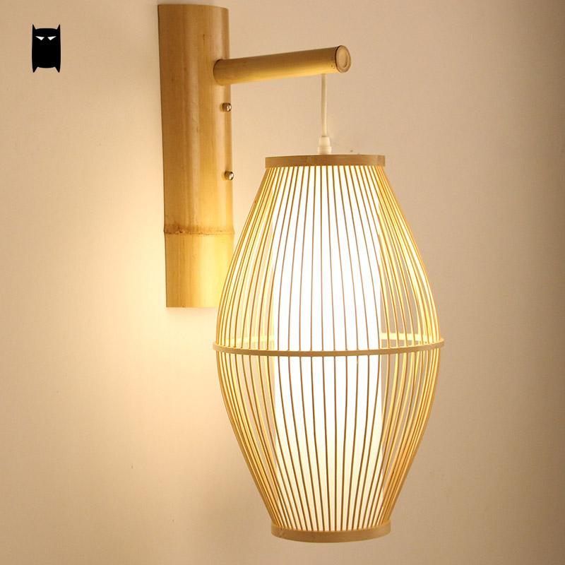 Bamboo Wicker Rattan Lantern Shade Wall Lamp Fixture Rustic Country Asian Japanese Sconce Light Home Bedroom Living Room Hallway