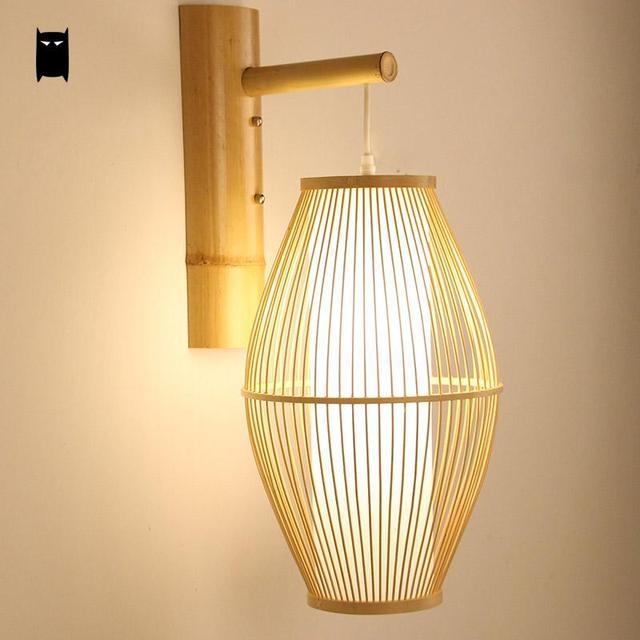 Bamboo Wicker Rattan Lantern Shade Wall Lamp Fixture
