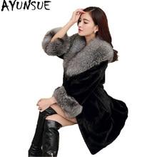 AYUNSUE/осенне-зимнее пальто из искусственного меха норки для женщин; большие размеры; длинные пальто с воротником из искусственного лисьего меха; женская куртка; Chaqueta Mujer; KJ511
