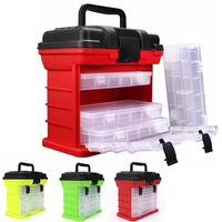 26x15x25cm 4 Layer Portable Carp Fishing Tackle Boxes Fishing Reel Line Lure Tool Storage Box Red /Yellow /Green
