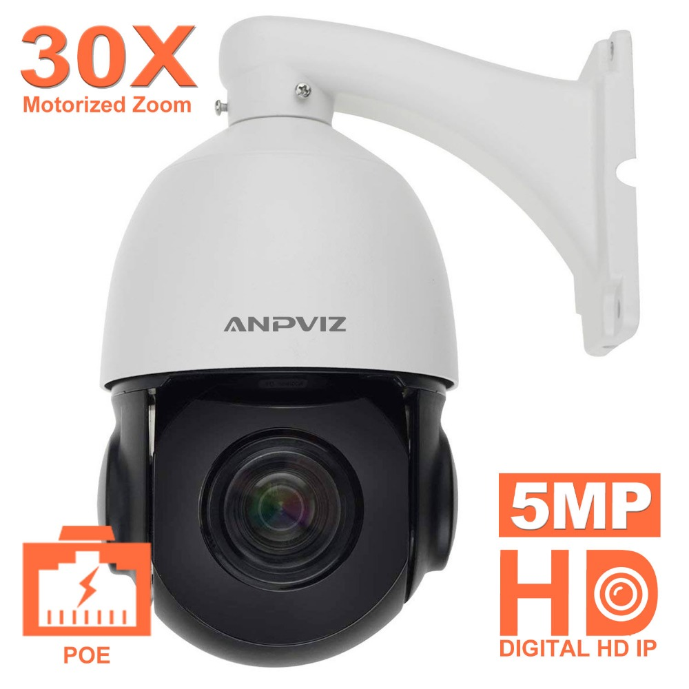 5MP PTZ Medio Dome Camera PoE 30X Zoom PTZ IP Della Macchina Fotografica Messa A Fuoco Automatica Outdoor H.265 Video Cam di Sorveglianza di 60 m distanza di IR Onvif