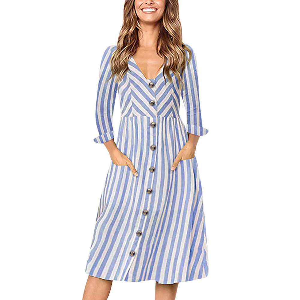 0ba2b37a5a9 FeiTong Long sleeves striated midi dress Elegant women autumn winter button  midi dress Ethnic vintage loose
