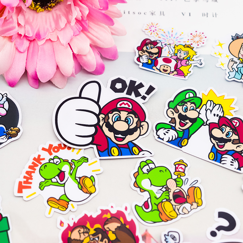 24pcs cute self-made cute mario stickers for DIY Exercise Book Diary 32 Sheets A Pack Toys For Children Colorful Toy Sticker24pcs cute self-made cute mario stickers for DIY Exercise Book Diary 32 Sheets A Pack Toys For Children Colorful Toy Sticker