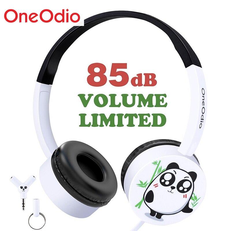 Onedio nueva llegada los niños Cute Cartoon Panda diadema ligero Durable Fone De Ouvido 3,5mm Wired Headset auriculares