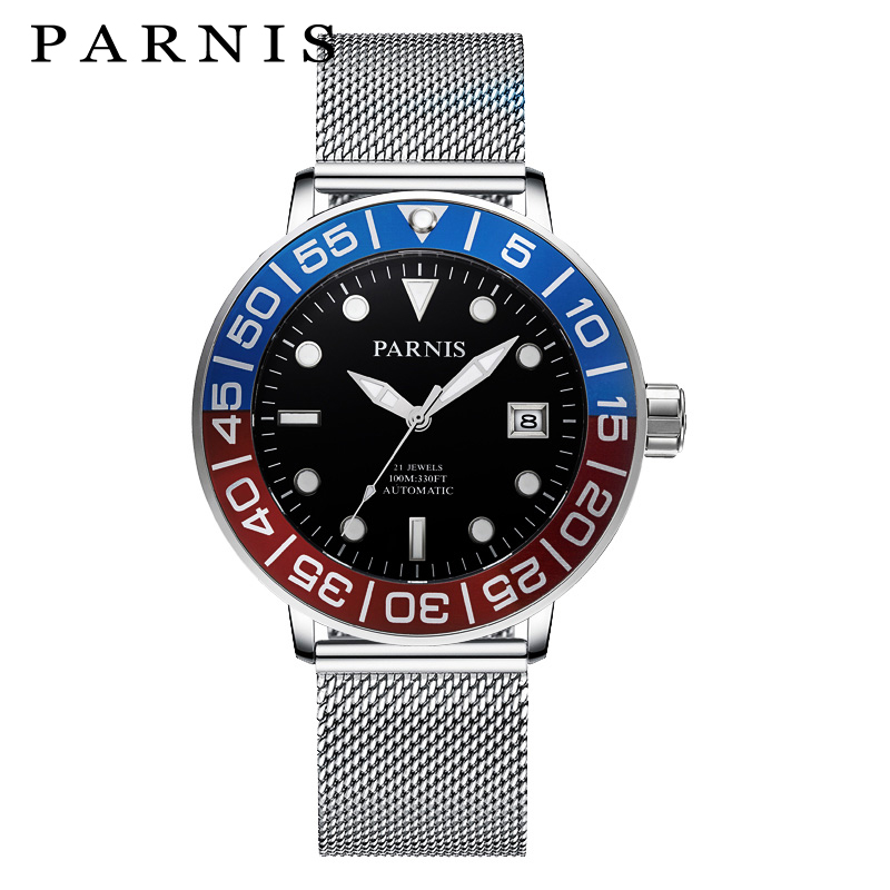 2017 Newest Mens Watches Parnis 42mm Stainless Steel Mesh Band Luminous Automatic Watch Men 21 Jewels Mechanical Movement Watch все цены
