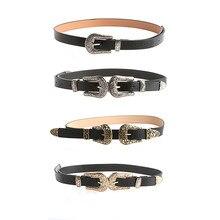 Women Lady Fashion Vintage Adjustable Punk Metalic Waistband Waist Belt Double Buckle Accessory