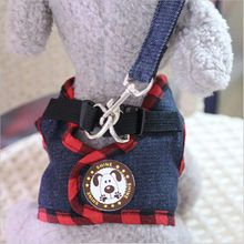 цена на Small Dog Harness Pet Puppy Vest Leash Walking Rope Jeans Harness Leash for Small Dog Cat Puppy Pet Outdoors