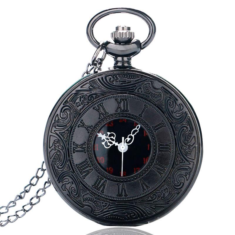 Vintage Charm Black Unisex Fashion Roman Number Quartz Steampunk Pocket Watch Women Man Necklace Pendant With Chain Gifts P427