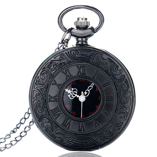 Vintage negro de encanto de moda Unisex, número romano de Steampunk de cuarzo de reloj de bolsillo de las mujeres COLLAR COLGANTE con cadena regalos P427