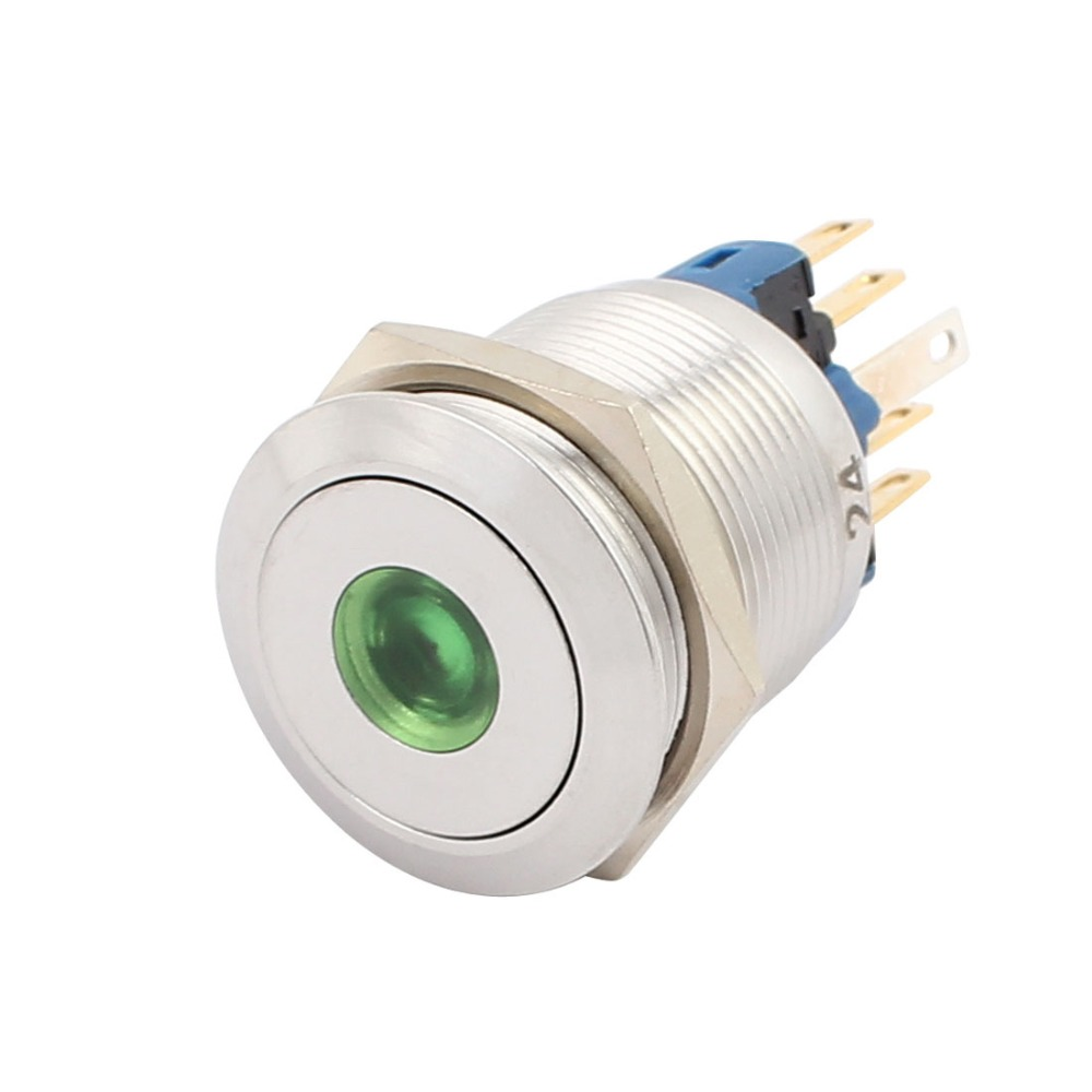 UL AC 5A 250V 22mm 0.87 Mounting Thread Dot Round 1NO 1NC DPST Latching Metal Waterproof Push Button Switch with Green Light ac 220v 16mm mounting thread waterproof press switch high round 1no 1nc spdt momentary metal push button switch green light