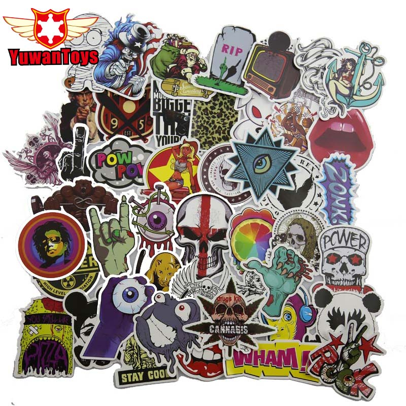 New 50Pcs Mixed Stickers Toy Styling Funny Sticker Motorcycle Bike Travel Doodle Accessory Cover Detector Luggage