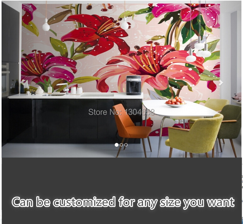 Free shipping custom large living room sofa bedroom wall mural wallpaper background Red and Pink Illustrated Flowers Mural цена 2017
