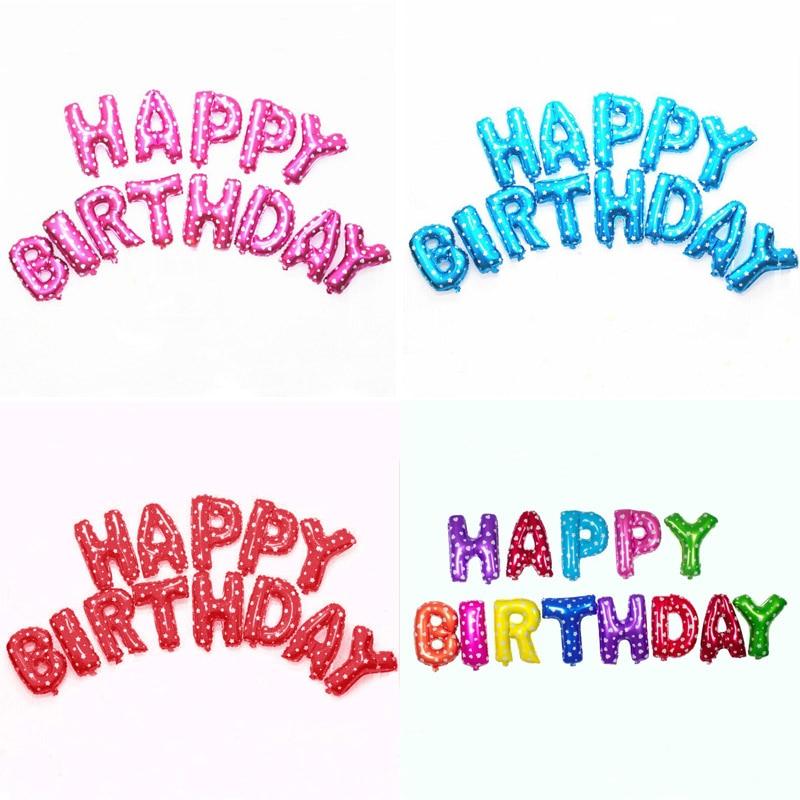 13 unids/lote letra Feliz cumpleaños baoon aluminio globo decoración