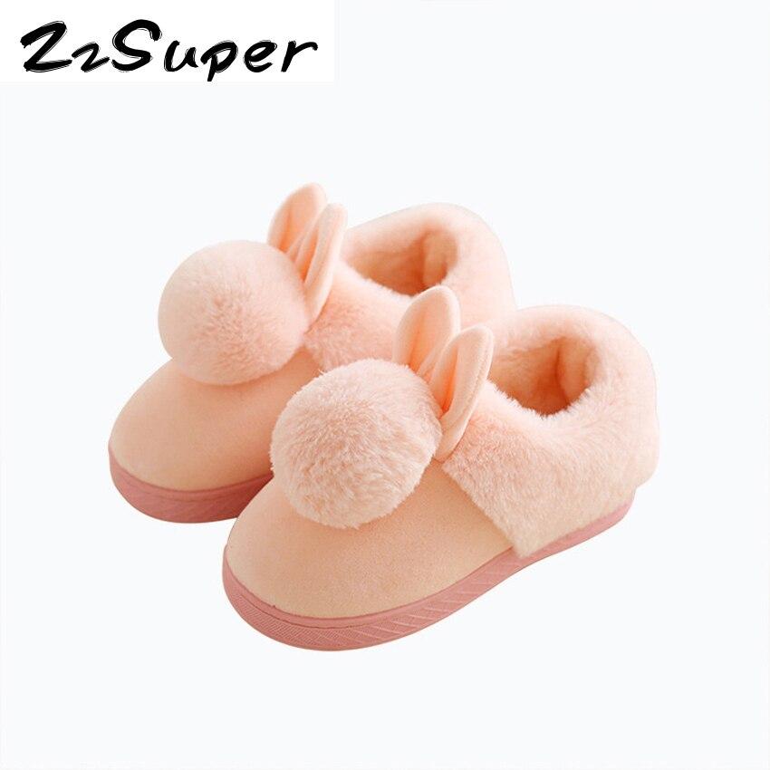 Baby Winter Warmes Zuhause Hausschuhe Cartoon Kaninchen Ohren Nicht Schlupf  Startseite Schuhe Wrap Ferse Innen