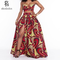 2017 Summer African Dresses For Women S Sets Short Top And Long Skirt Short Sleeves Strapless