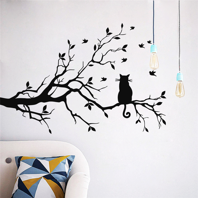 Black Cat On Tree Branch Wall Stickers For Kids Room Home Decor Cartoon Animal Wall Decals Vinyl Removable Mural Art Diy Posters