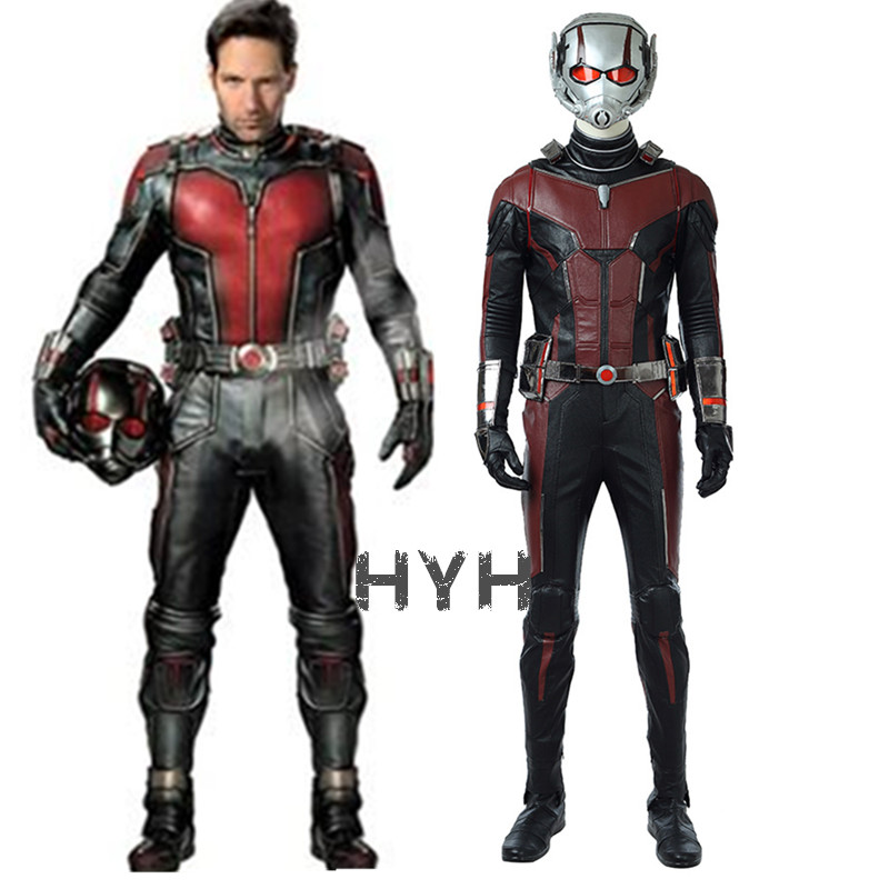 New Ant-Man And The Wasp Cosplay Costume Men Leather Ant-man Jumpsuit Fancy Halloween Ant Man Costume Custom Made