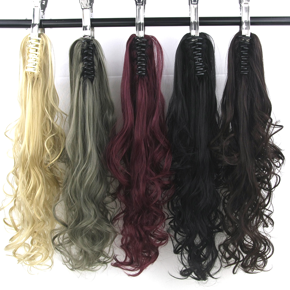 Soowee 15 Colors 130g Black Gray Wavy Synthetic Hair Pony Tail Claw Ponytail Clip In Hair