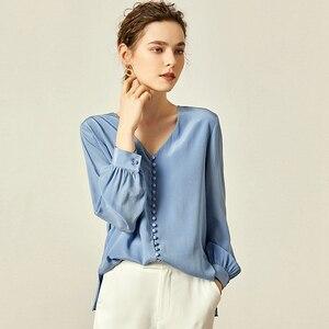 Image 3 - Chemisier femmes chemise Double couche 100% soie Design Simple col en V manches longues solide 2 couleurs bureau Top nouvelle mode printemps 2019