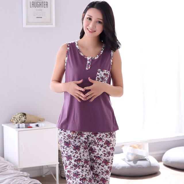 8aac6c028b Plus Size M-4XL Soft Cotton Women Pajamas Set Small Floral Sleepwear Vest  Casual Tracksuit
