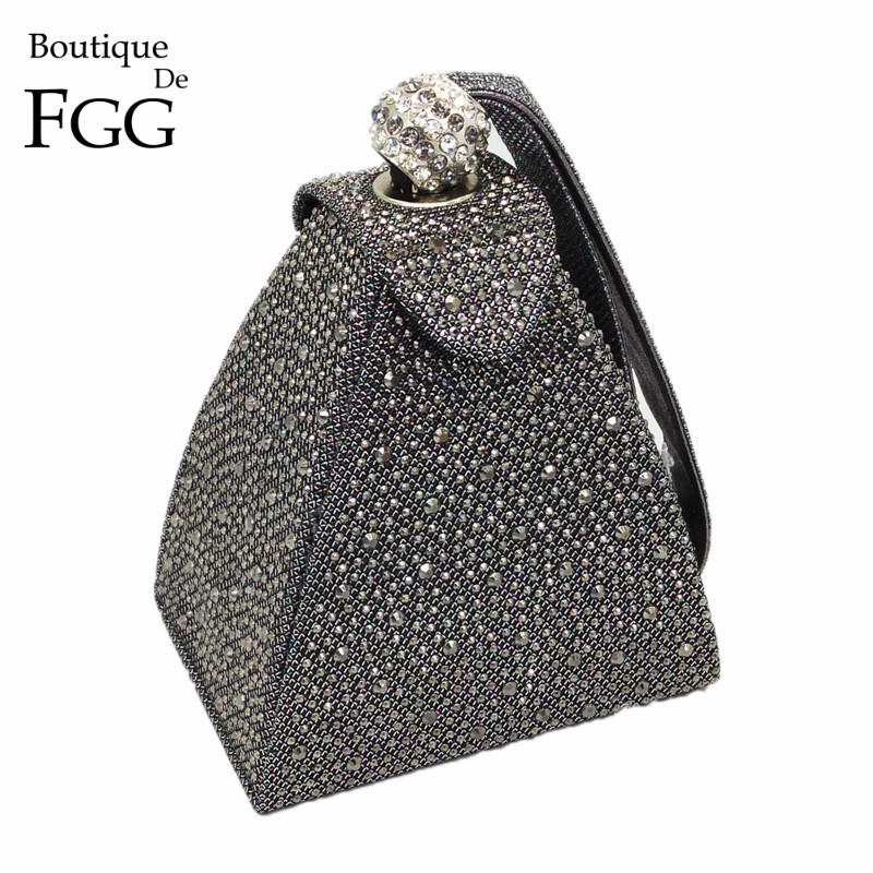 064d335e90c Vintage Diamond Bridal Wedding Purse Mini Gray Pyramid Party Handbags Women  Bag Wristlets Clutches Crystal Evening Clutch Bags-in Top-Handle Bags from  ...