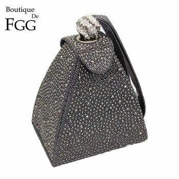 Vintage Diamond Bridal Wedding Purse Mini Gray Pyramid Party Handbags Women Bag Wristlets Clutches Crystal Evening Clutch Bags subwoofer