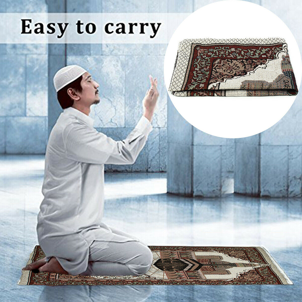 110x65cm Gift Lightweight Tassel Tapestry Blanket Islamic Muslim Embroidery Decoration Prayer Rug Bedroom Carpet Tablecloth Soft