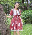 Women Lolita Dress Kawaii RabbitPrinted Patterns Short Sleeve Lace Trim Dresses White Red
