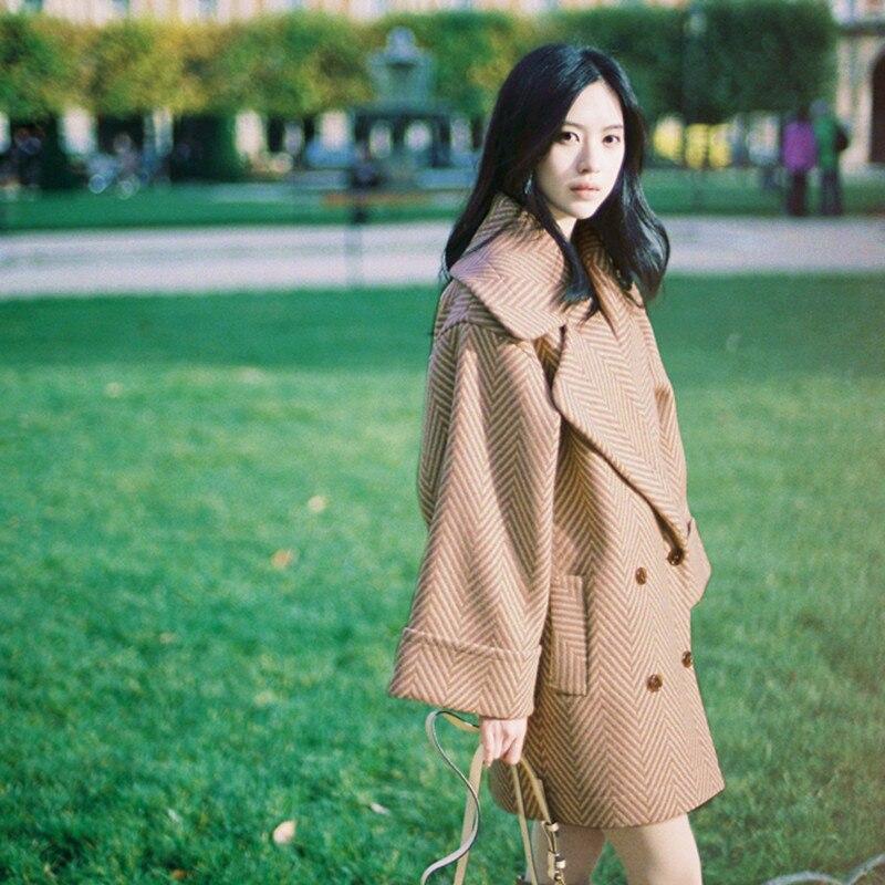 Femelle À 2018 Femmes Coréenne Double Breasted De Manteau Outwear Taille Épaisse Lâche Grande Nouveau O736 Laine Hiver Manches Longues Mode Veste 6Iw7A1