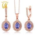 GemStoneKing 3.88 Ct Natural Blue Tanzanite Women's Jewelry Set 925 Rose Gold Plated Silver Pendant Earrings Set