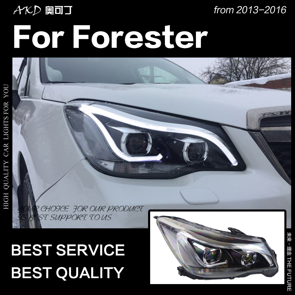 AKD Car Styling Testa Della Lampada per Forester Fari 2013-2016 Forester HA CONDOTTO il Faro di Angelo Occhio DRL Hid Bi Xenon accessori Auto