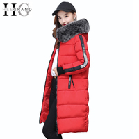 HEE GRAND Winter Coat Women 2017 Warm Parka Thick Fur Collar Jacket Long Feathers Autumn Hooded