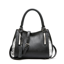 Factory direct new dumpling-shaped design stitching women leather handbags beautiful fringed snakeskin womens shoulder bags