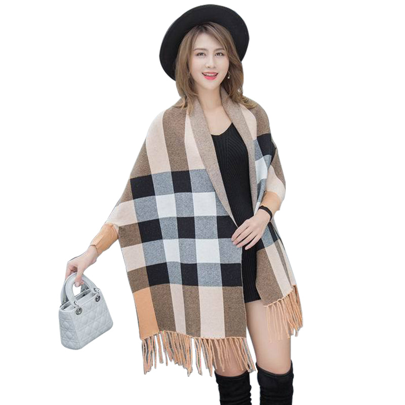 US $26 03 40% OFF|Ladies Boutique Cashmere Ponchos And Capes 2018 New Plaid  Scarf Wrap Thick Long Sleeve Scarves For Women 100 Pashmina Shawls-in