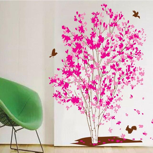 Cỡ lớn Màu Hồng Hoa Cây Dán Tường Chim cho Phòng Khách Nhà Trang Trí Phòng Ngủ Cửa Phòng Tắm Dán Chống Thấm Nước Nghệ Thuật Đề Can NHỰA PVC