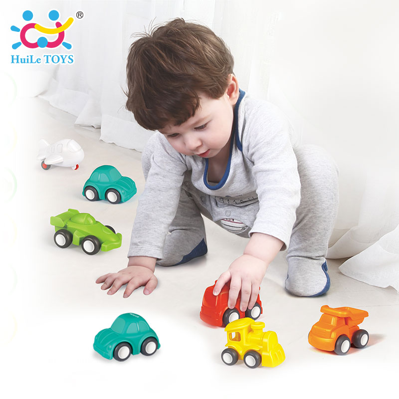 6PCS/Lot HUILE TOYS 3117 Baby Toys Great Pull Back Car Candy Color Wheels Mini Car Train Plane Model Toys for...