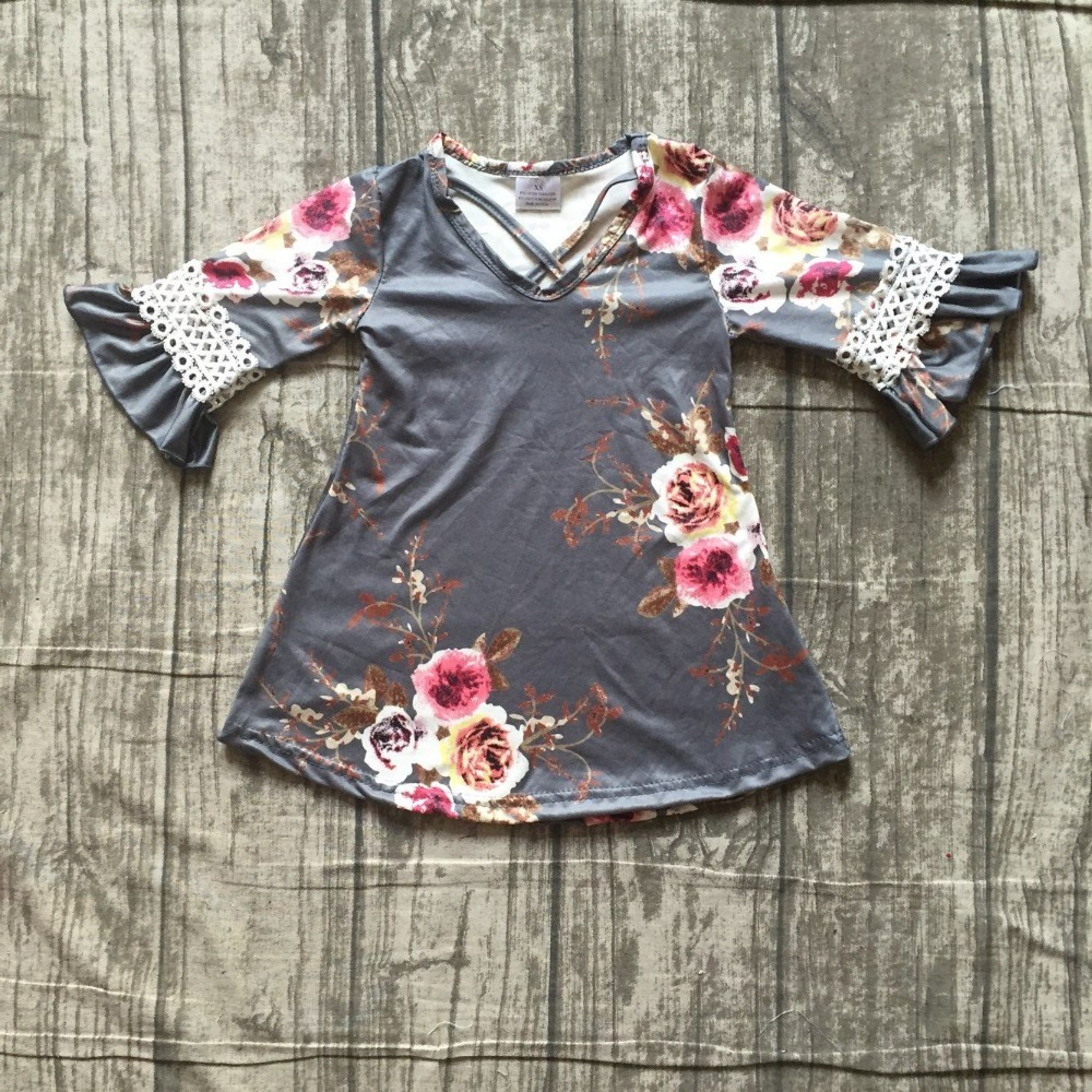 new Fall/winter 1 piece floral flower gray milk silk lace dress baby girls kids wear dress outfit boutique children clothing цена