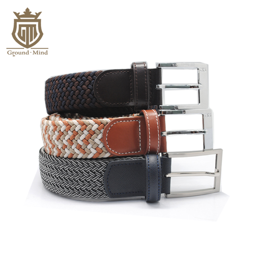 New Breathable Elastic Braided Belts for Men Male Woven Strap Genuine Leather Tip & Head Classic Design Casual Style