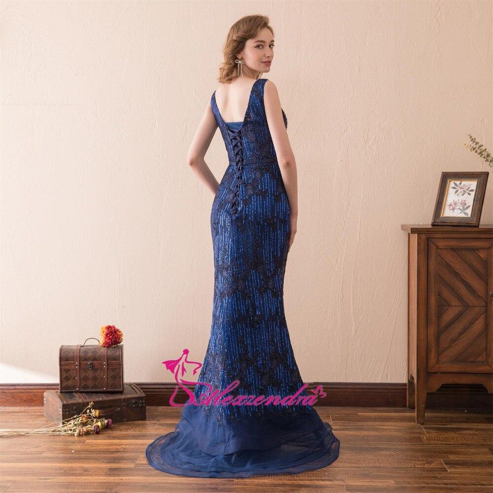 Alexzendra lagerklänning Dubbel V Halsmermaid Blå Prom Klänningar - Särskilda tillfällen klänningar - Foto 3