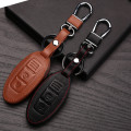 Leather Keychain Bag For Nissan Almera Juke Maxima Altima Murano Pathfinder Rogue Versa Key Wallet Holder For Nissan Keyring Car
