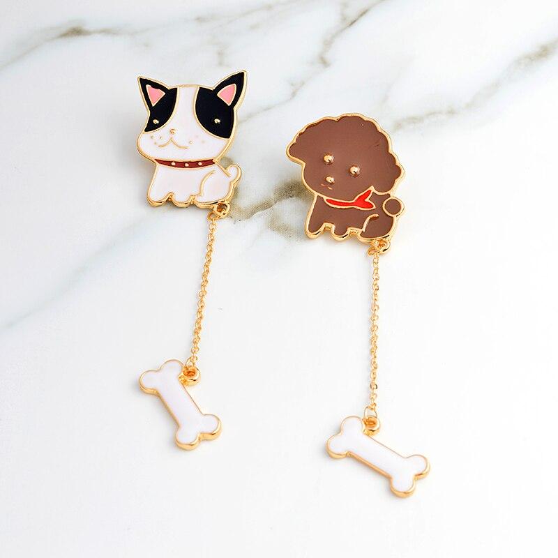 Puppy Dog Poodle French Bulldog Bone Brooch with Chain Shirt bag cap Jacket Pin Badge Cartoon Animal Jewelry Birthday gift