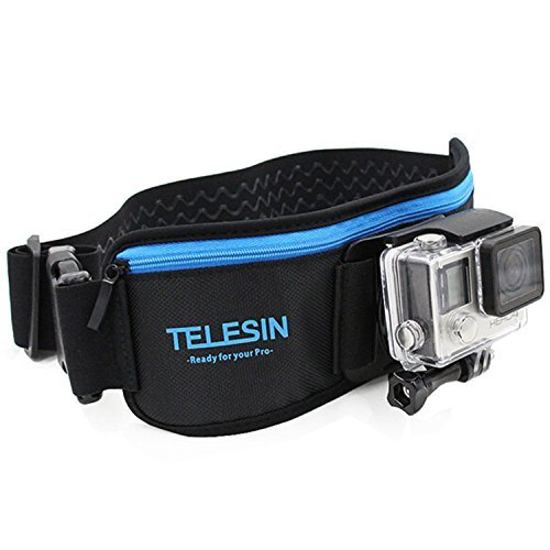 TELESIN Adjustable Waist Strap Belt with Pocket+ J Hook for GoPro Hero 6 5 4 3 SJCAM Xiaomi Yi EKEN Action Camera Accessories