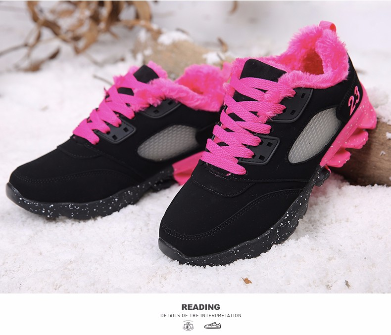 2017 Fashion Winter Women Casual Shoes Plush Warm Sport Low Top Women Shoes Black Pink Breathable Lace Up Woman Trainers YD165 (17)