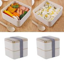 Healthy Material Double-Layer Wheat Straw Lunch Box With Fork Spoon Compartment Square Children Student Tableware CFC7804